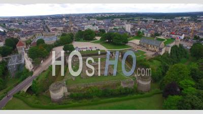 Historic Old Chateau De Caen In The Normandy Town Of Caen, France – Aerial Video Drone Footage