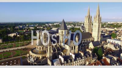 Abbey Of Saint-Étienne Also Known As The Abbaye Aux Hommes, Home To The Mairie Or Town Hall In Caen, Calvados, Normandy, France – Aerial Video Drone Footage