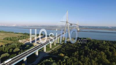 Pont De Normandie Suspension Bridge Near Le Havre, France – Aerial Video Drone Footage