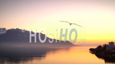 Timelapse. Coucher De Soleil Sur Le Lac Léman Et Montreux