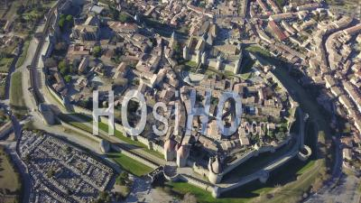 Carcassonne Old City, Seen From Helicopter