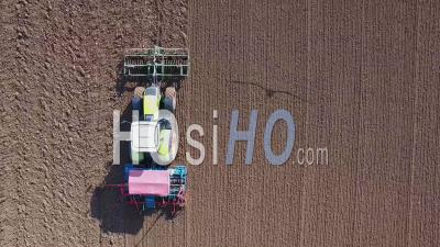 Tractor Plowing A Field In The Beauce - Video Drone Footage