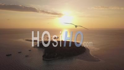 Voler Vers Une Petite île Tropicale Au Lever Du Soleil, île De Récif, Roxas, Philippines