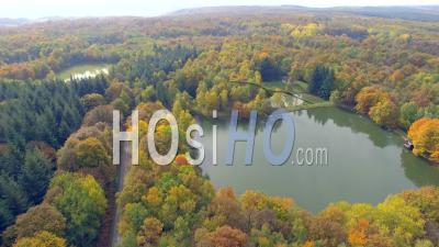 Forest And Ponds In Isere, France – Aerial Video Drone Footage