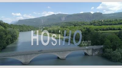 River Isere At Beauvoir-En-Royans - Video Drone Footage
