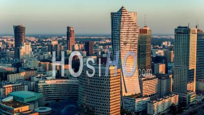 Warsaw City Center, Warsaw, Warszawa Seen By Drone