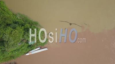 Muddy Waters On Mekong River, Drone Footage