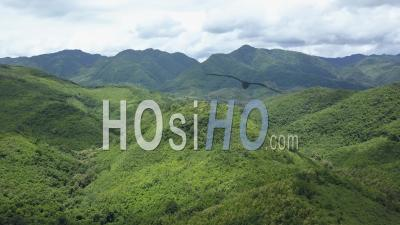 Green Mountains Nearby Xiang Ngeun - Video Drone Footage