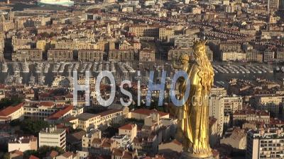Notre-Dame-De-La-Garde Cathedral, Marseilles City And Statue Of Virgin Mary, Marseille, France - Video Drone Footage