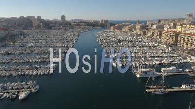 Marseille Old-Port And Fort-Saint-Jean, Viewed By Drone