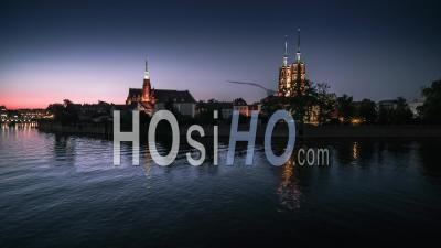 Ostrow Tumski, Cathedral Of St. John The Baptist, Katedra Swietego Jana Chrzciciela, Old Town, Wroclaw, Night, Seen By Drone