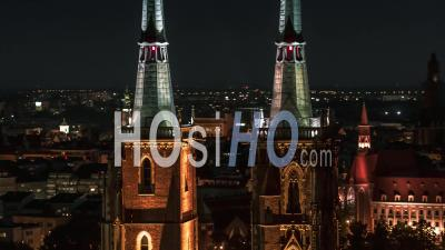 Towers Of Cathedral Of St. John The Baptist, Katedra Swietego Jana Chrzciciela, Old Town, Night, Wroclaw - Video Drone Footage