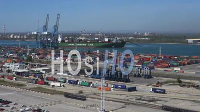 Arrival Of A Container Ship In Port - Video Drone Footage