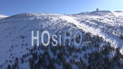 Mont-Ventoux And Ski Resort Of Mont-Serein In The Snow In Winter, Vaucluse, France - Video Drone Footage