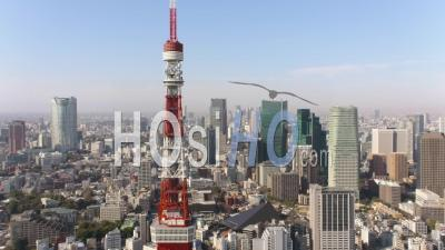 Japan Tokyo Aerial  Flying Low Around Tokyo Tower With Cityscape Views - Drone Point Of View