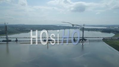The Mersey Gateway New Bridge Construction Runcorn To Liverpool England - Video Drone Footage