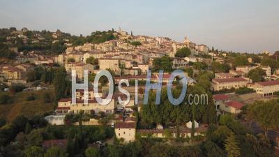 Panoramic View Of Provencal Village Of Fayence At Sunset