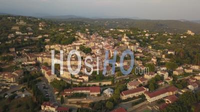 High Altitude View Of Famous Provencal Village Of Fayence At Sunset Seen By Drone