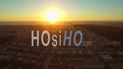 San Francisco California Usa Flying Sideways Over Sunset District With Ocean Sunset View - Video Drone Footage