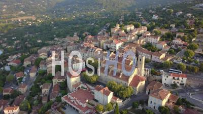Provencal Village Of Fayence At Sunrise Seen By Drone