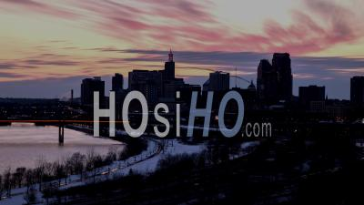Saint Paul Minnesota Downtown Cityscape Timelapse In Winter - Drone Point Of View