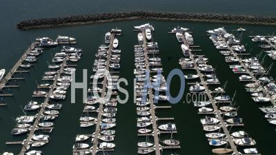 Boats At A Marina Seattle Area - Drone Point Of View
