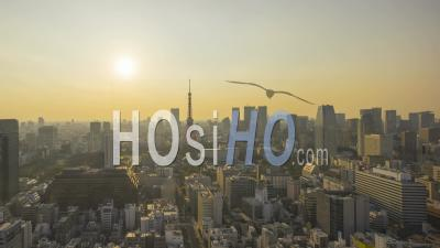 Skyline De La Ville De Tokyo Avec La Tour Tokyo Timelapse Japon - Vu Par Drone