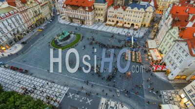 City And Pedestrians Time Lapse Of Old Town Square In Prague. Czech Republic - Video Drone Footage