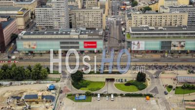 Time-Lapse Du Paysage Urbain De La Ville De La Circulation Sur L'île De Varsovie, En Pologne. - Vidéo Drone