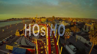 Santa Cruz Boardwalk Rollercoaster California - Video Drone Footage