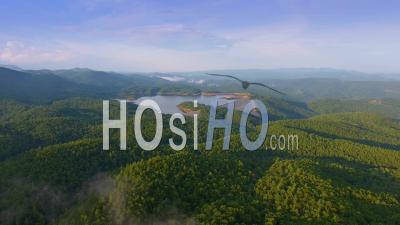 Evening Aerial Of Lakes In Upstate South Carolina Blue Ridge Mountains - Video Drone Footage