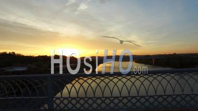 Aerial Sunrise Over Chattanooga Tennessee - Video Drone Footage