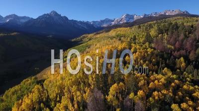 Automne, Près, Uncompahgre, Pic, Colorado, Drone, Point, Vue