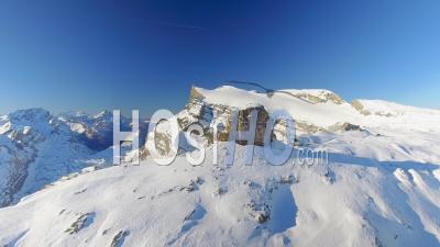 Glacier 3000 Gstaad Diablerets Swiss Alps Switzerland - Video Drone Footage