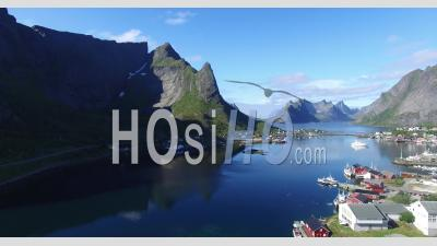 Small Fishing Village Of Lofoton Norway With Mountains And Fjord - Video Drone Footage