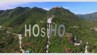 Tao's Temple On Yajishan Mountain Peaks, Beijing China - Video Drone Footage