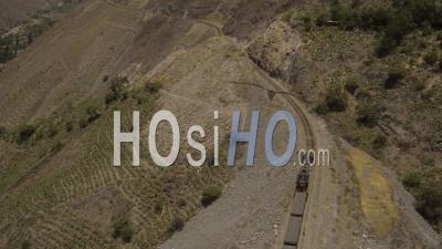 Peru Flying Over Train Panning In Huarochiri Province - Video Drone Footage