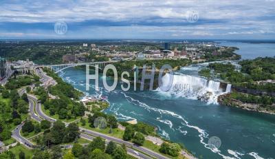 Waterfalls Of  Niagara Falls On The Niagara River Along The Canada U.S. Border. - Aerial Photography