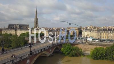 Bordeaux, Pont De Pierre, Old Stony Bridge In Bordeaux And Tramway