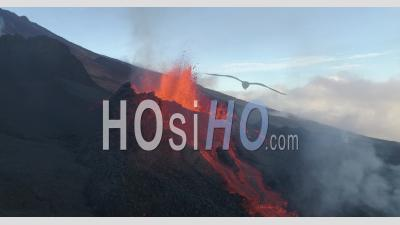 Piton De La Fournaise Volcano Eruption, March 2019 - Drone Point Of View