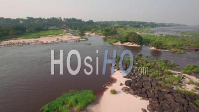 The Congo And The Island Of Lovers In Brazzaville, Video Drone Footage