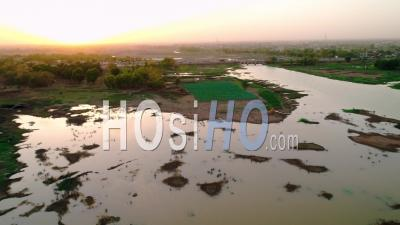 Plantations Near The Ouagadougou Dam, Video Drone Footage