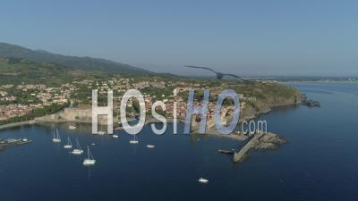 Seaport Of Collioure - Video Drone Footage