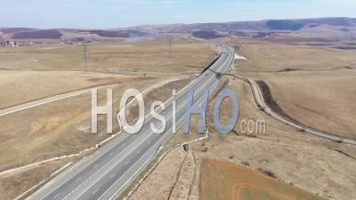 Drone Point Of View Of A Highway