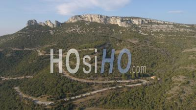 Road In Mountain Sainte-Baume - Video Drone Footage