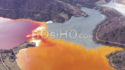 Water Pollution By Toxic Waste From Mining, Romania - Video Drone Footage