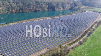 Fly Above Solar Panels In Baud, Brittany, France - Video Drone Footage