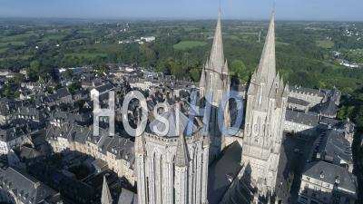 Cathedral Notre-Dame Of Coutances In Summer, Drone Point Of View