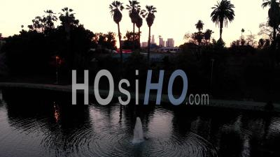 Aerial Sunset Of Los Angeles, California - Video Drone Footage