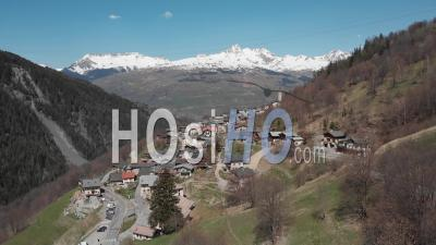 Small Village In The Alps, Peisey-Nancroix - Video Drone Footage
